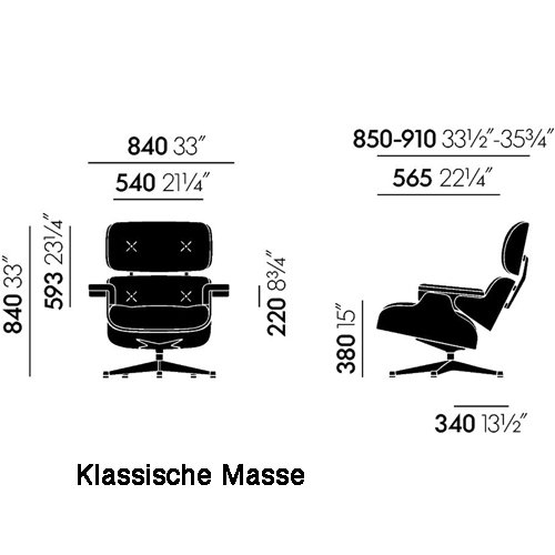 eames lounge chair kirschbaum vitra - Eames Lounge Stuhl Abmessungen